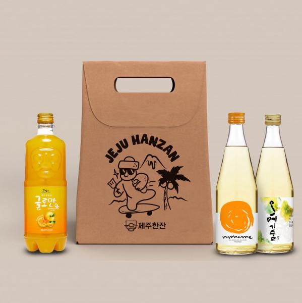 패키지   제주전통주 '제주한잔' 술+안주 세트 패키지 디자인 의뢰(보냉백 1도 인쇄용)   라우드소싱 포트폴리오