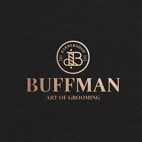 로고 + 간판 | 버프먼 프리미엄 맨즈 헤어/바버샵 로고 간판 디자인 의뢰 | 라우드소싱 포트폴리오