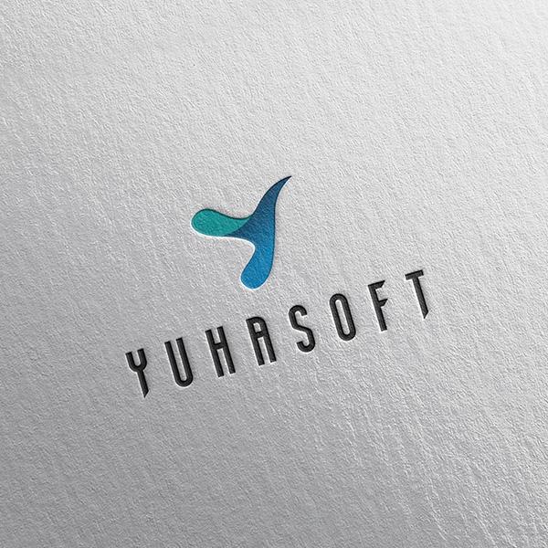 로고 + 명함 | YUHASOFT 회사 로고 디자인 의뢰 | 라우드소싱 포트폴리오