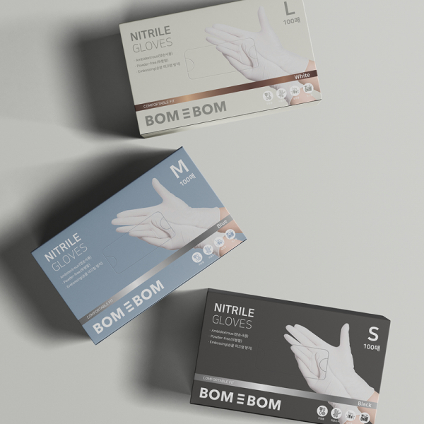 라벨 + 박스 | 주방생활 브랜드 '봄에봄 요리용 니트릴장갑' 패키지 디자인 의뢰 | 라우드소싱 포트폴리오