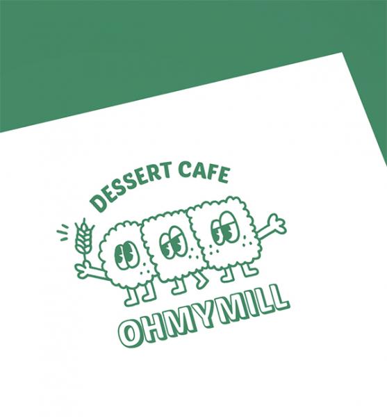   <오마이밀 디저트 카페> 사용할 캐릭터 로고 의뢰   라우드소싱 포트폴리오
