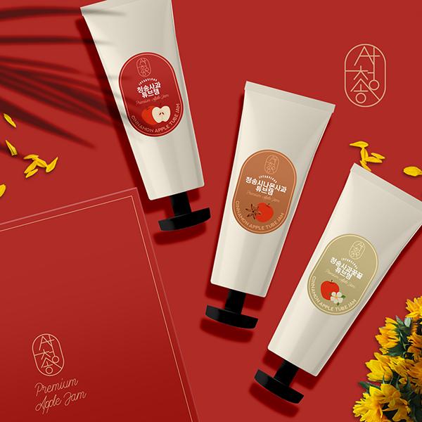 라벨 + 박스 | 청송 사과를 활용한 튜브잼 3종 패키지 컨셉디자인 | 라우드소싱 포트폴리오