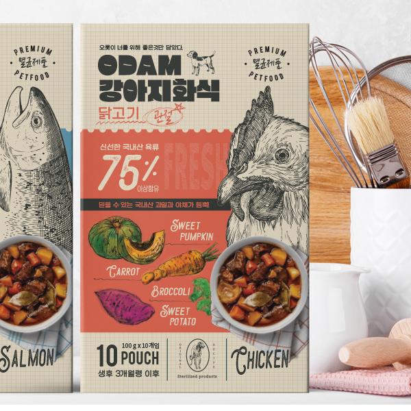   오담 강아지화식 패키지 디자인 의뢰   라우드소싱 포트폴리오