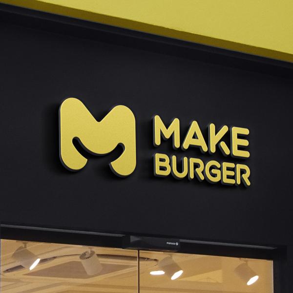 로고   MAKE Burger 심볼+워터마크 디자인   라우드소싱 포트폴리오