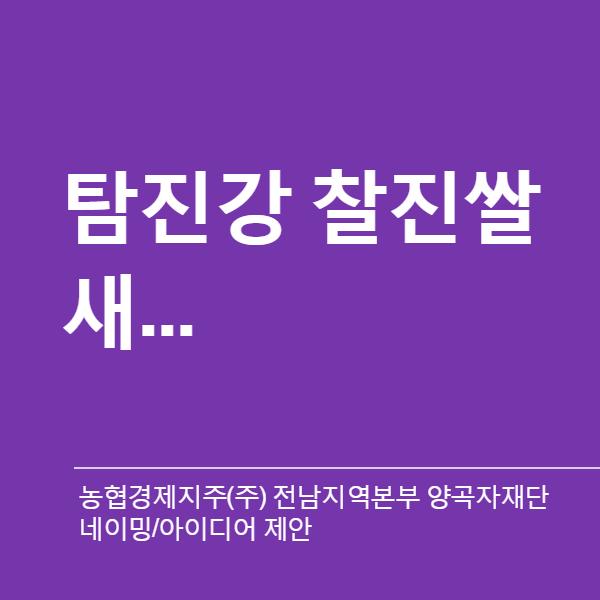 네이밍 / 아이디어 | 전라남도 쌀 대표 품종 ... | 라우드소싱 포트폴리오