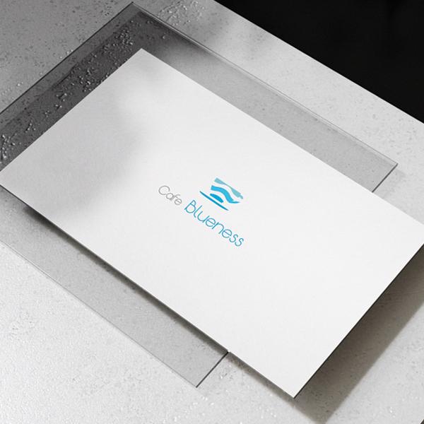 로고 + 간판 | Blueness 카페 로... | 라우드소싱 포트폴리오