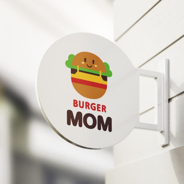 로고 + 간판 | BURGER MOM | 라우드소싱 포트폴리오